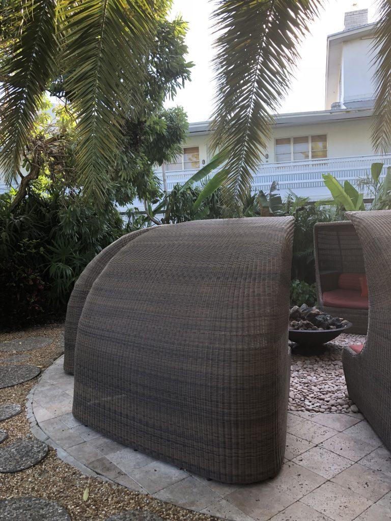 backyard patio set with fire pit