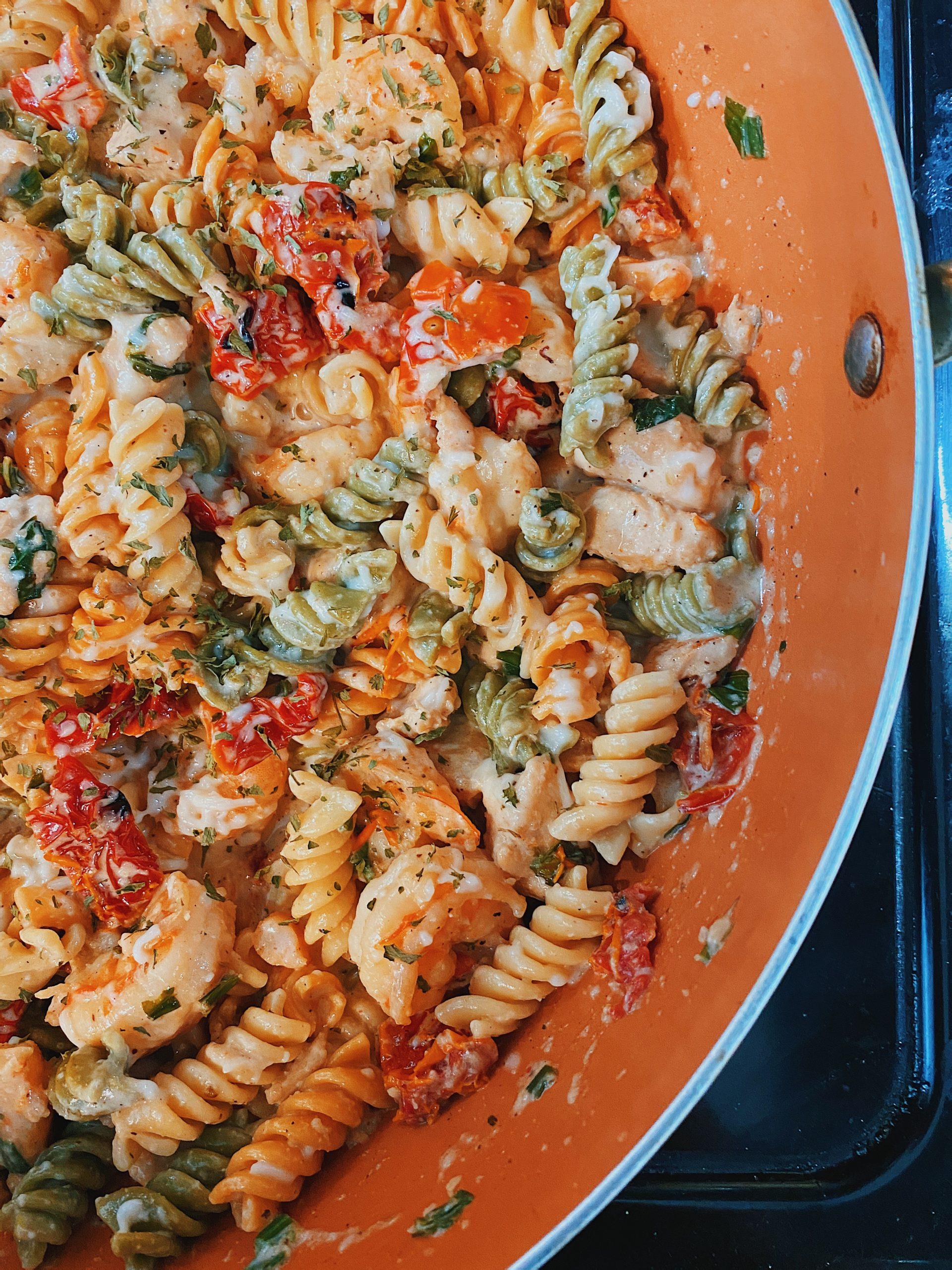 Damn Good Mozzarella Chicken & Shrimp Pasta